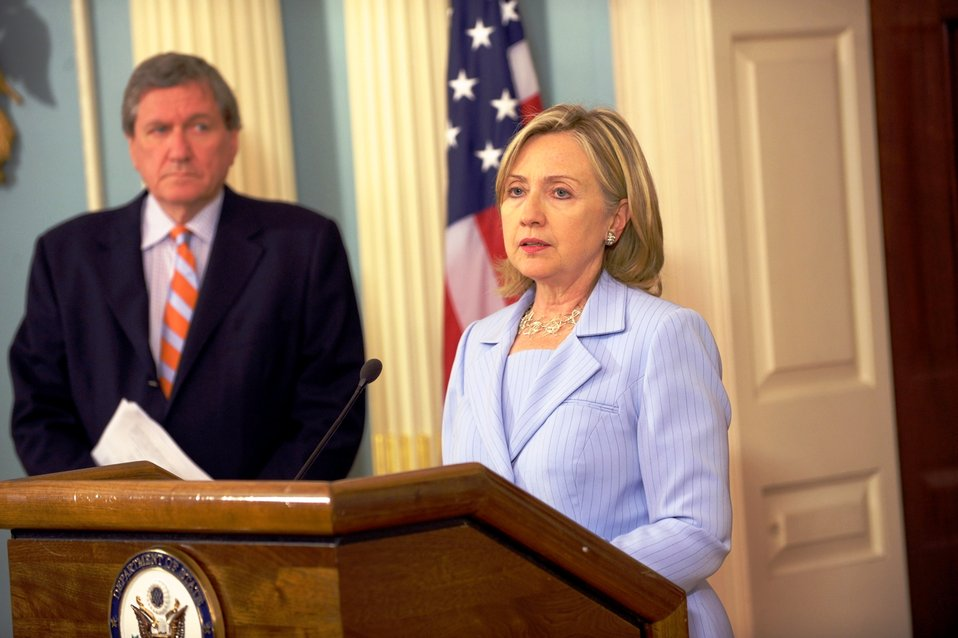 Secretary Clinton With Special Representative Holbrooke Delivers a Statement on the Relief Workers Killed in Afghanistan