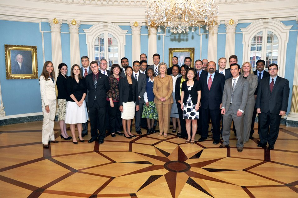 Secretary Clinton With Bureau of South and Central Asian Affairs Staff