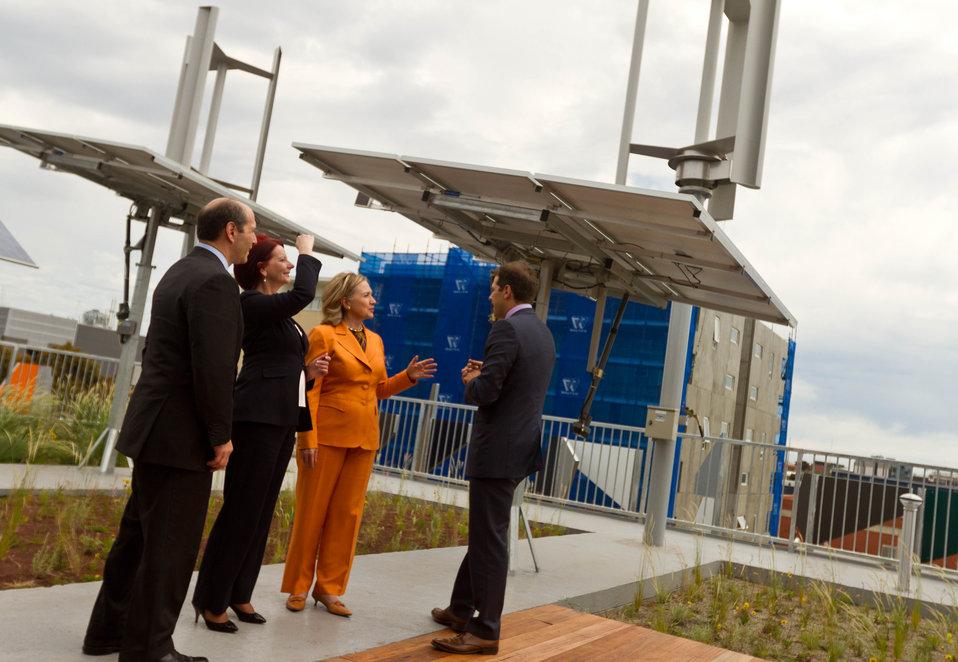 Secretary Clinton, Australian Prime Minister Gillard, and Ambassador Bleich Are Greeted By Grocon CEO Grollo