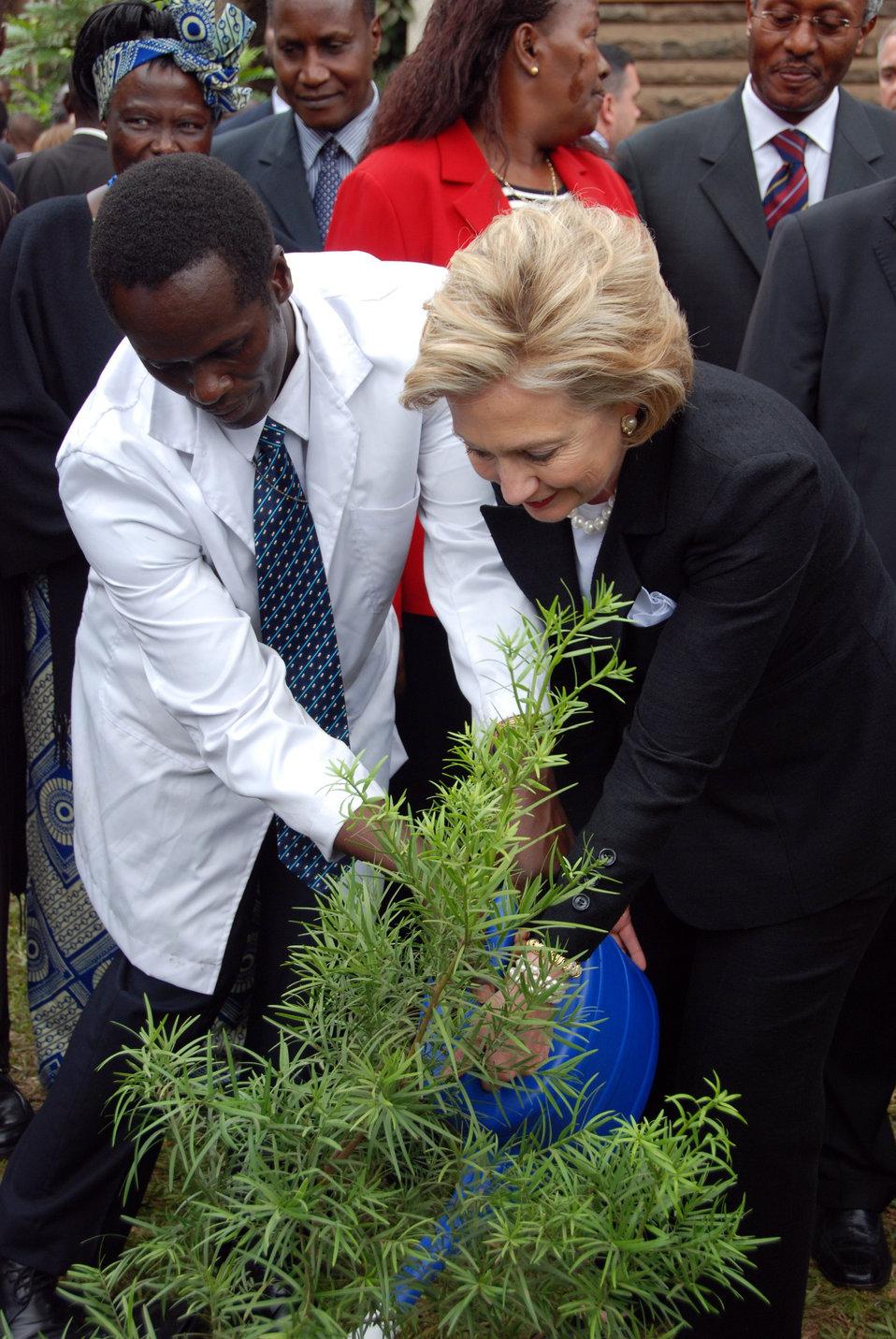 Secretary Clinton Ceremonial Tree Planting