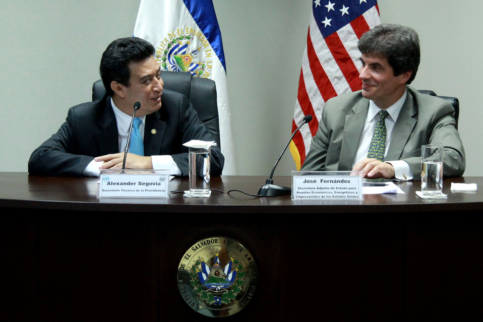 Assistant Secretary Fernandez and Salvadoran Technical Secretary Segovia Speak With Reporters