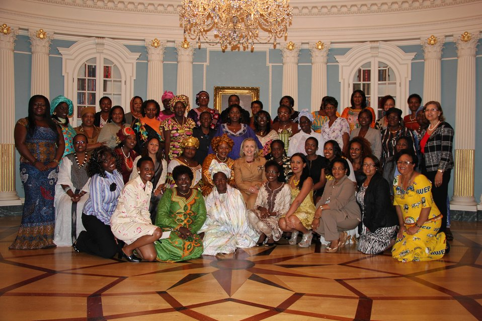 Secretary Clinton Poses for a Group Photo With the African Women's Entrepreneurship Program Participants