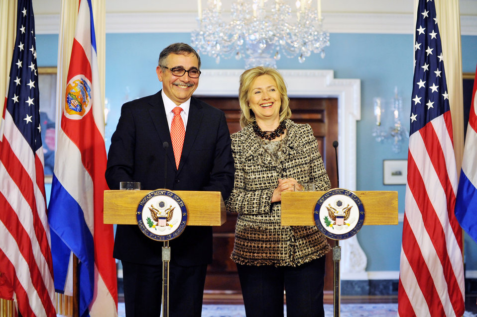 Secretary Clinton Smiles for a Photo With Costa Rican Foreign Minister Castro