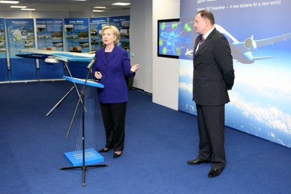 Secretary Clinton at Boeing Design Center in Moscow