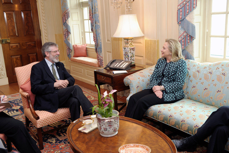 Secretary Clinton Meets With President of Sinn Fein Adams