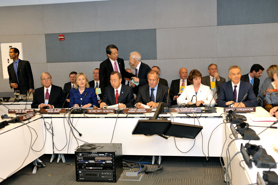 Secretary Clinton Participates in the Quartet Follow-on Meeting with the Arab League Committee