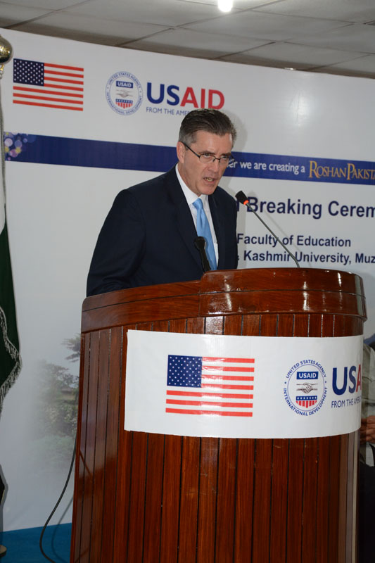 The United States Ambassador to Pakistan, Richard Olson broke ground for a U.S. funded construction of a new Faculty of Education building in Muzaffarabad, AJK.  24