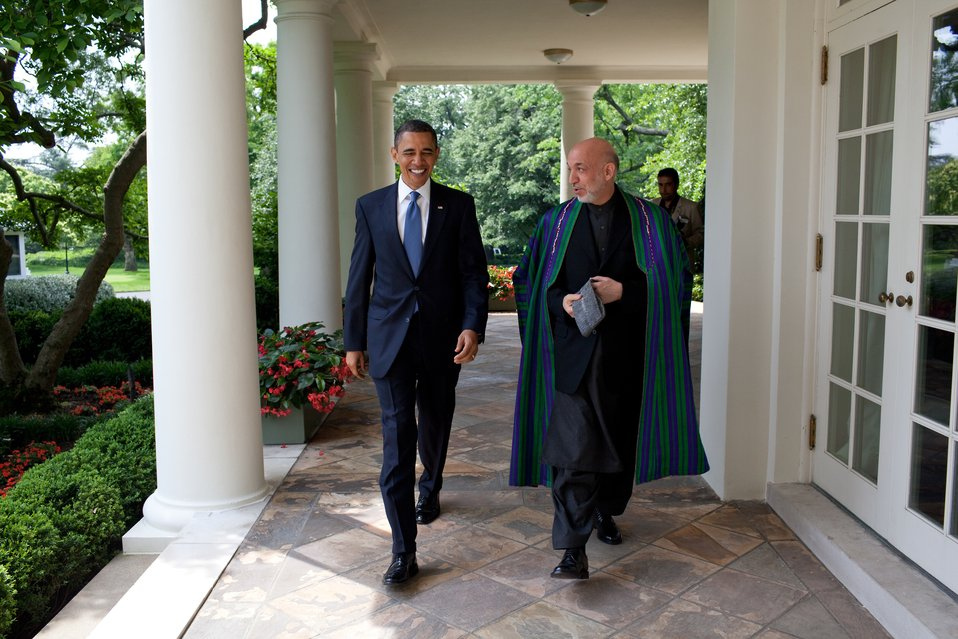President Obama and Afghan President Karzai Walk Along the Colonnade