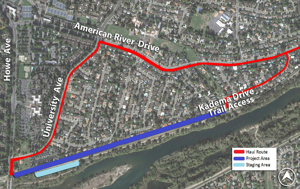 Map of the Howe Avenue levee raise project