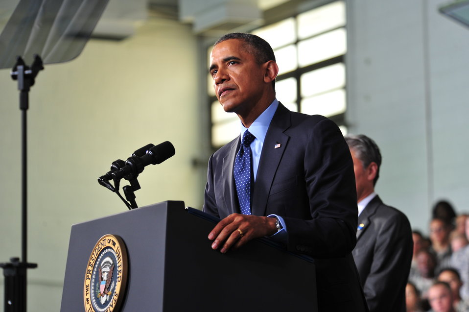 President Obama Delivers Remarks at a Combined Forces Command Briefing