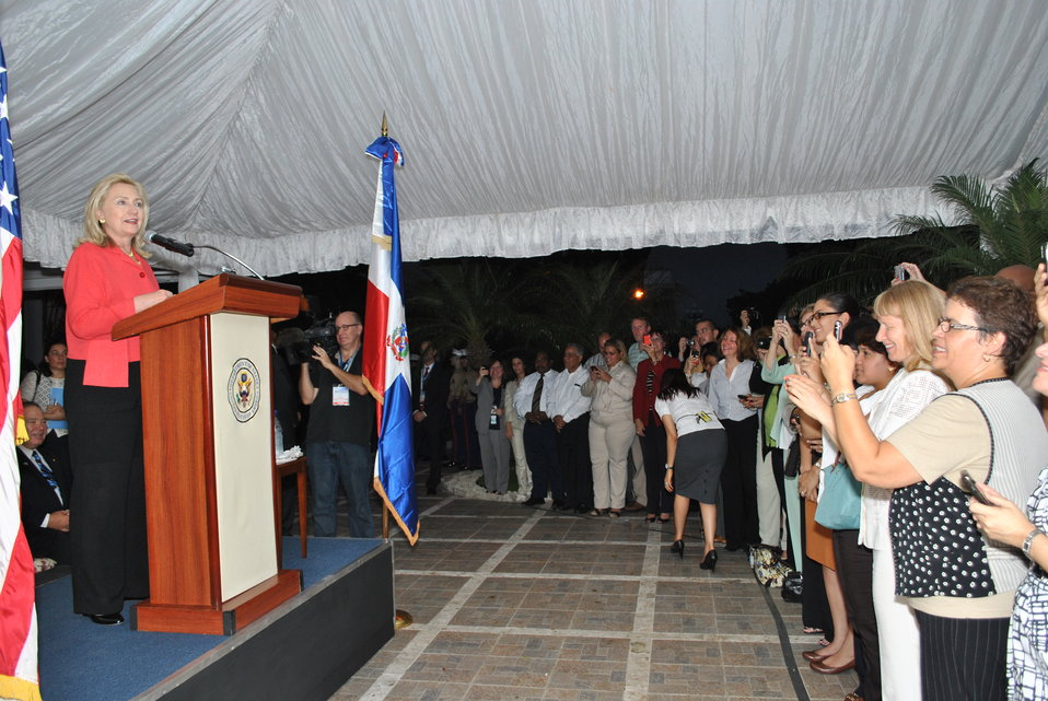 Secretary Clinton Addresses Embassy Staff