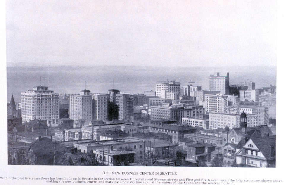 'The New Business Center in Seattle'. In:  'Puget Sound and Western Washington  Cities-Towns Scenery', by Robert A. Reid, Robert A. Reid Publisher, Seattle, 1912.  P. 71.