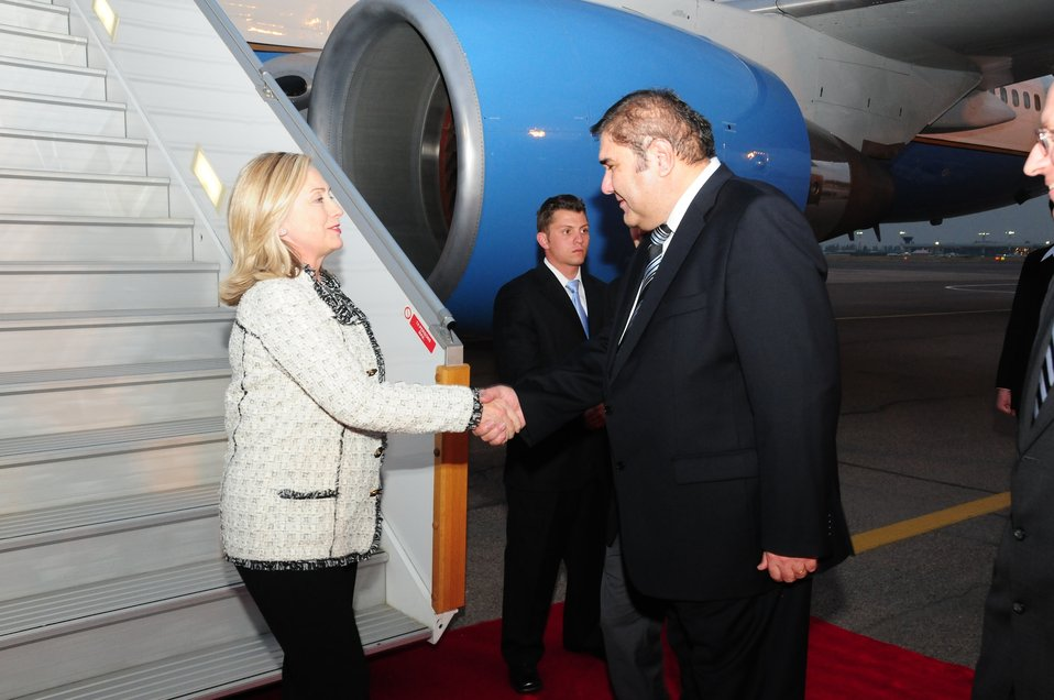 Secretary Clinton Is Greeted By Uzbek Foreign Minister Ganiev