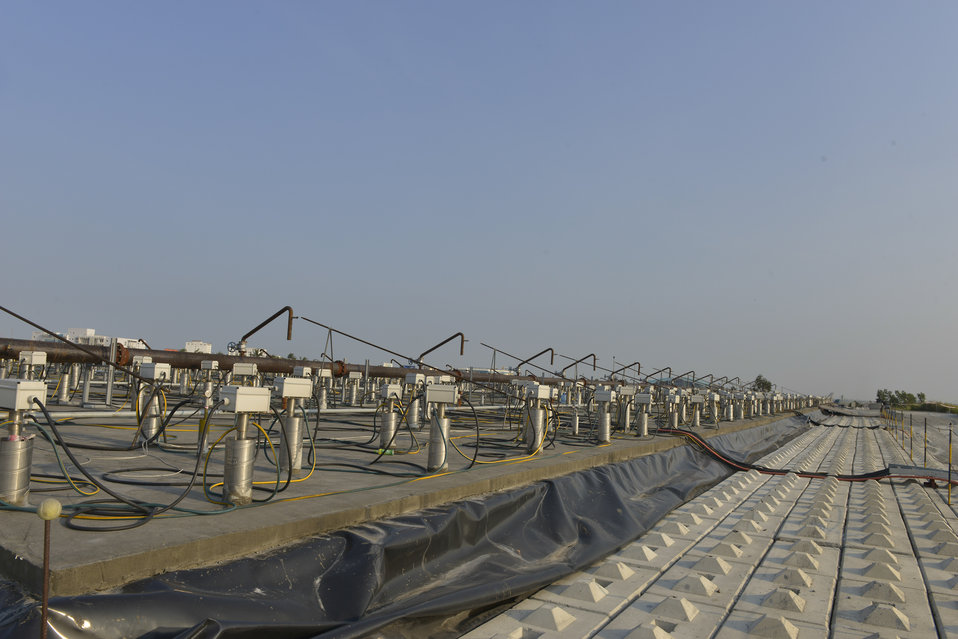 The containment and treatment structure at the Danang Airport Project site.