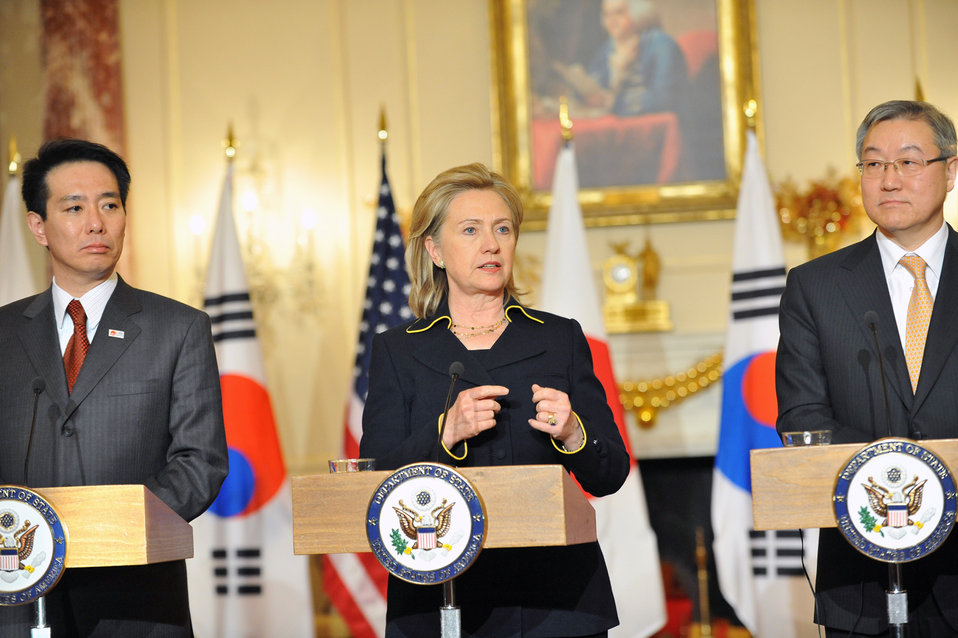 Secretary Clinton Holds a Press Conference With Japanese Foreign Affairs Minister Seiji Maehara and Republic of Korea Foreign Affairs and Trade Minister Kim Sung-Hwan