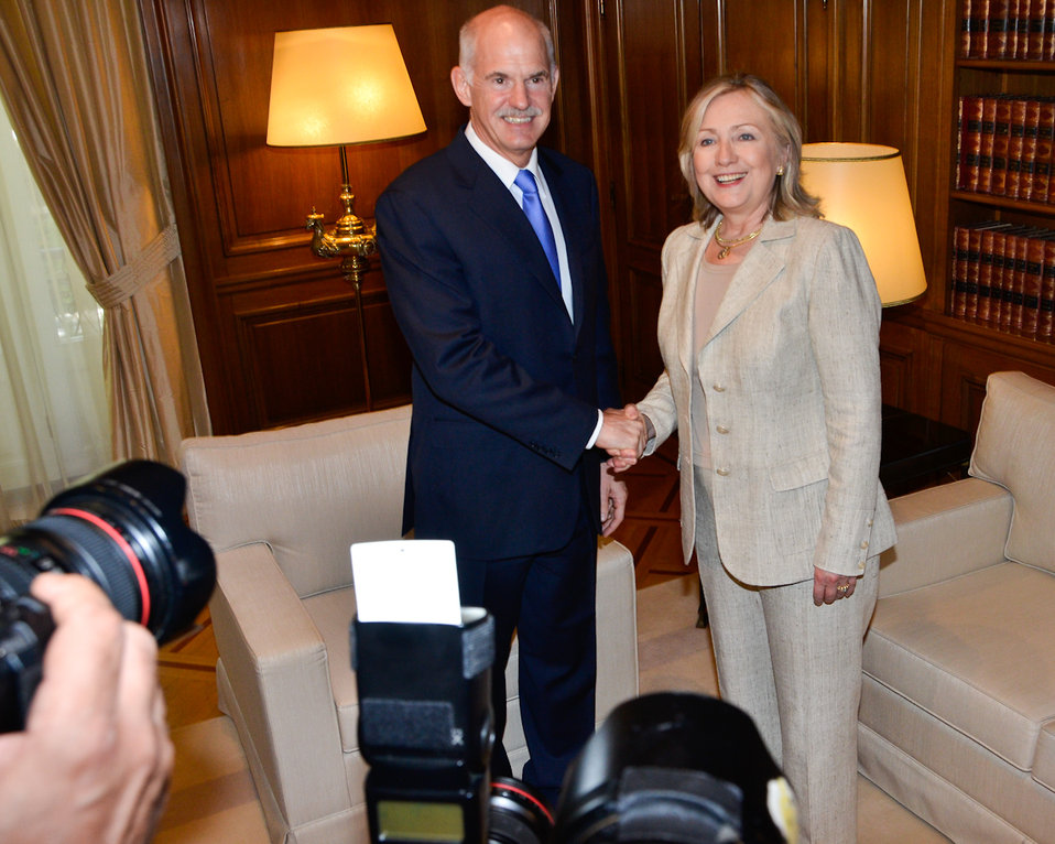Secretary Clinton Shakes Hands With Greek Prime Minister Papandreou