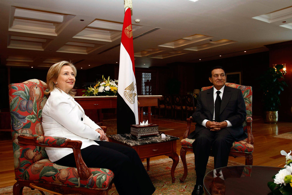 Secretary Clinton Meets With Egyptian President Mubarak