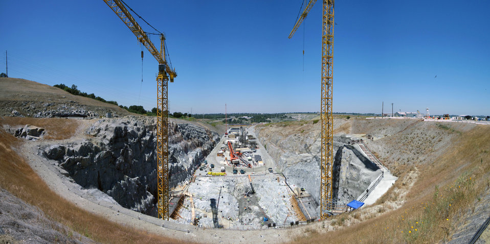 Panoramic view of auxiliary spillway construction at Folsom Dam site
