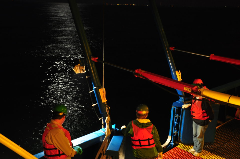 July 2009, Taking in the moonlight while the CTD sends back information from over 100' below!
