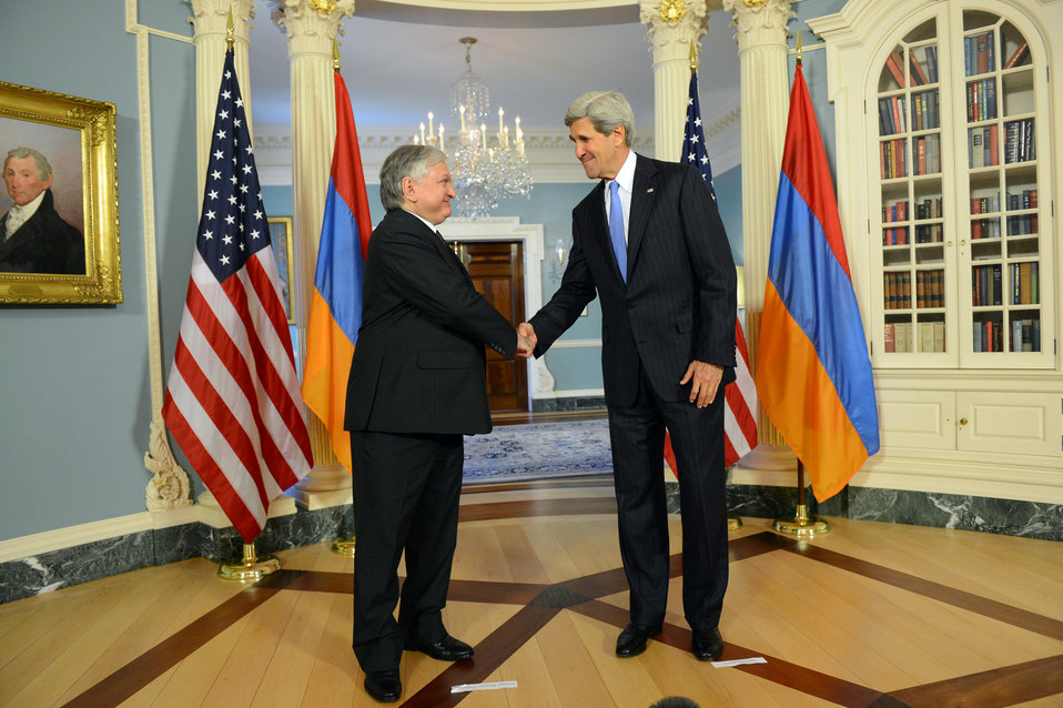 Secretary Kerry Shakes Hands With Armenian Foreign Minister Nalbandian
