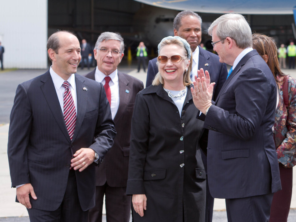 Ambassador Bleich, Secretary Clinton, and Australian Foreign Minister Rudd Chat
