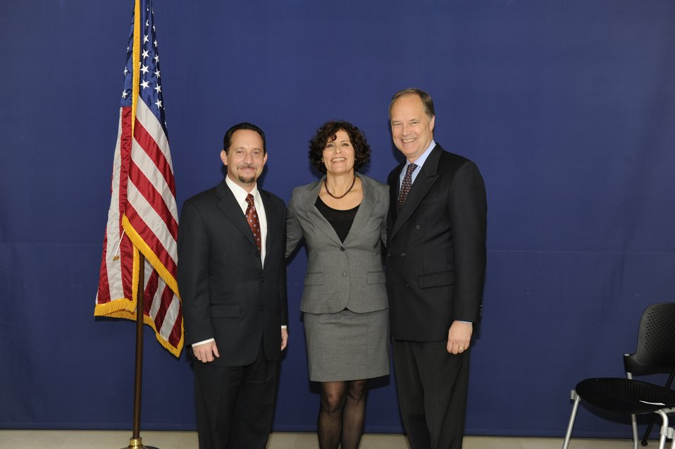Ambassador Cunningham, Consul General Rubinstein, and CISCO Senior Manager Abzuk Celebrate the ACE Award in Jerusalem