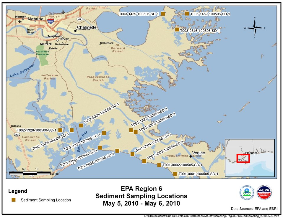 EPA Sediment Sampling Locations May 5-6, 2010