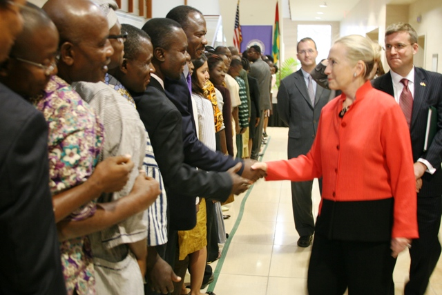Secretary Clinton Meets With Staff and Families of Embassy Lome
