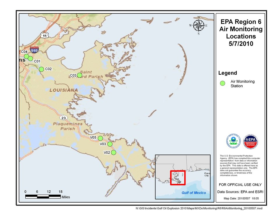 EPA Air Monitoring Locations May 7, 2010