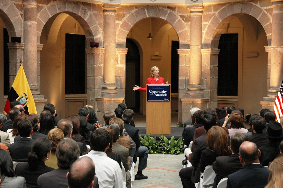 Secretary Clinton Delivers 'Opportunity in the Americas' Speech
