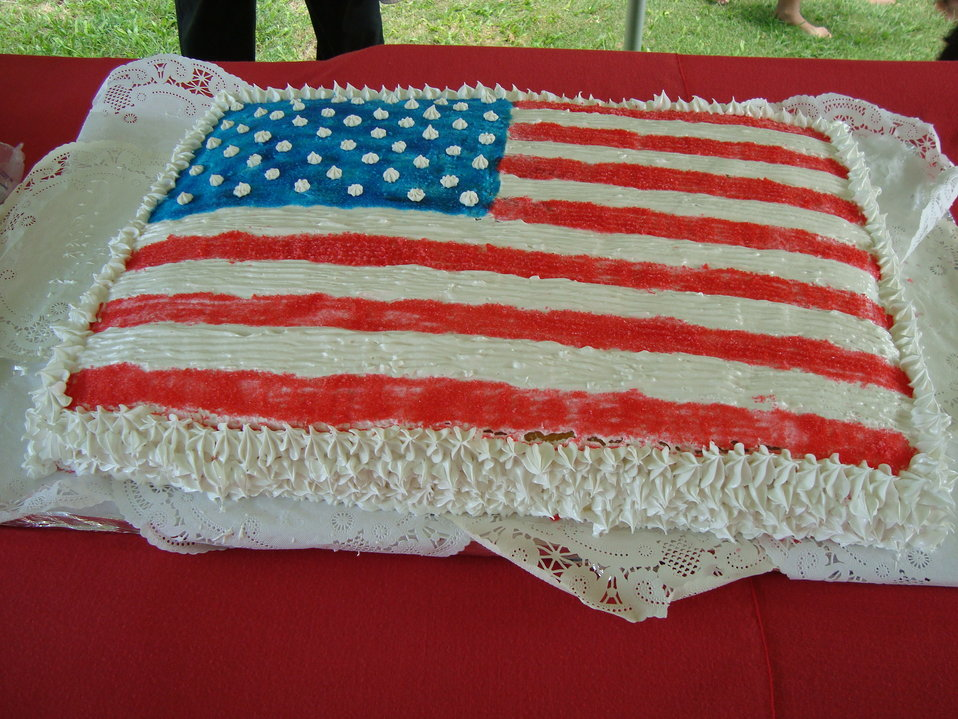 Guests Enjoy the American-Flag Decorated Cake