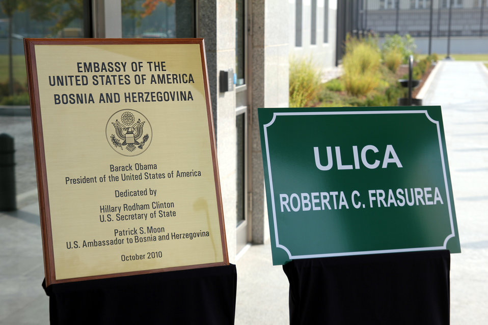 Plaques Are Displayed at the New Embassy Compound in Sarajevo
