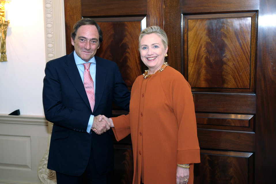 Secretary Clinton Shakes Hands With Portuguese Foreign Minister Portas
