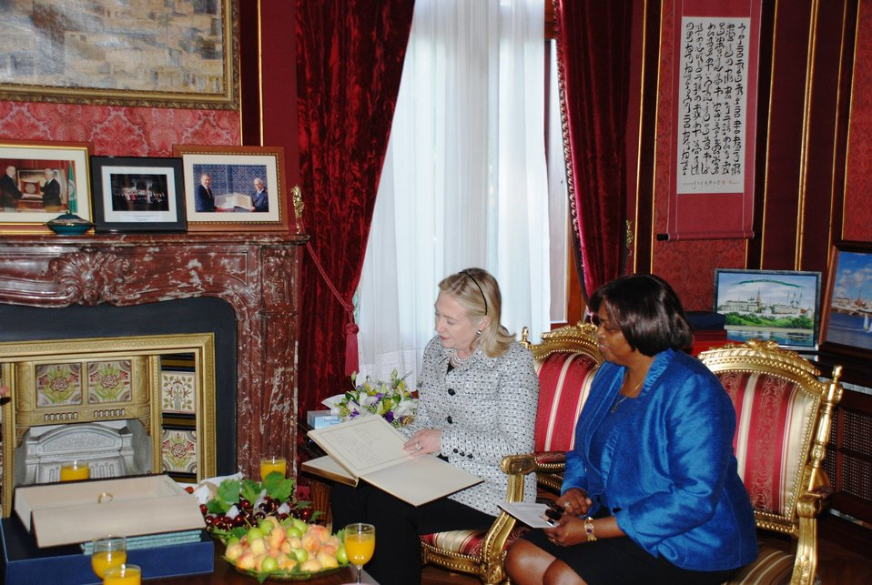 Secretary Clinton Meets With Ambassador Cook