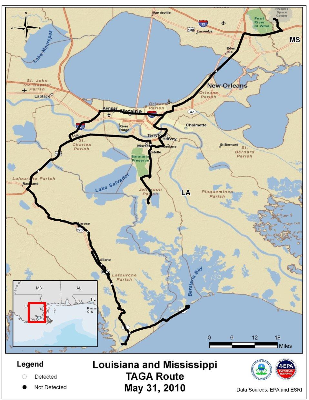 EPA TAGA Air Monitoring Locations May 31, 2010