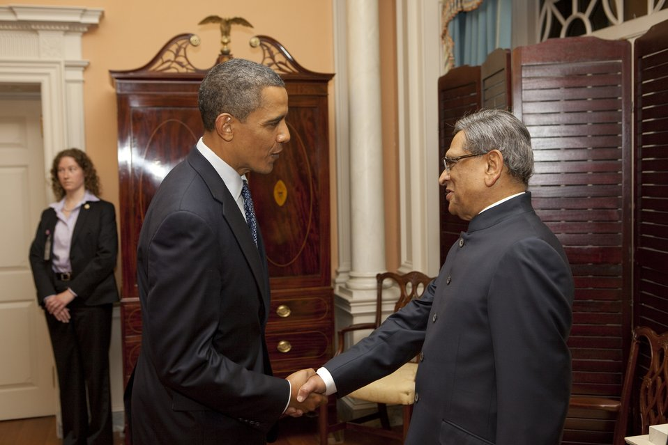 President Obama Shakes Hands With Indian Minister of External Affairs S.M. Krishna