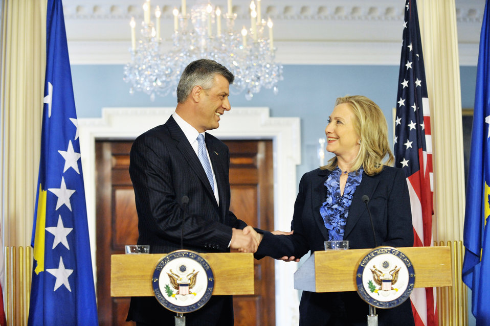Secretary Clinton Meets With Kosovan Prime Minister Thaci