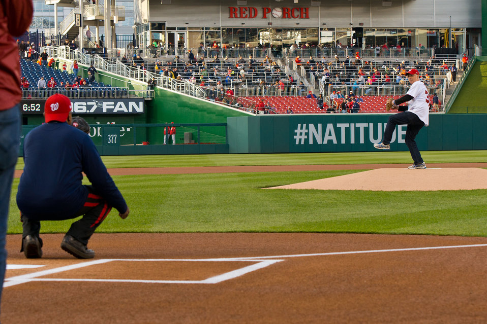 April 22, 2013 – Acting Administrator Bob Perciasepe winds up for the ceremonial first pitch