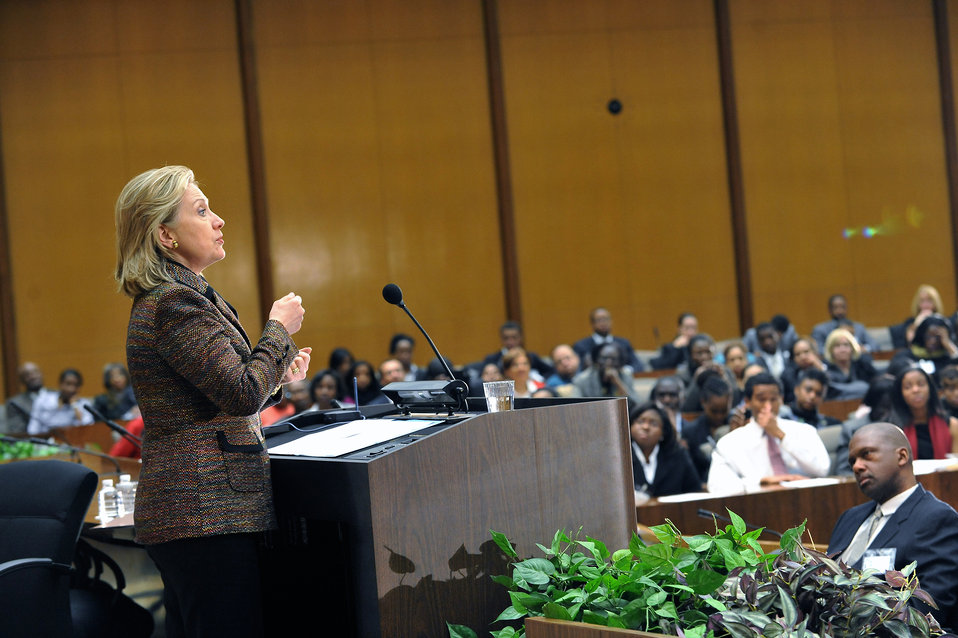 Secretary Clinton Delivers Remarks at Foreign Policy Briefing