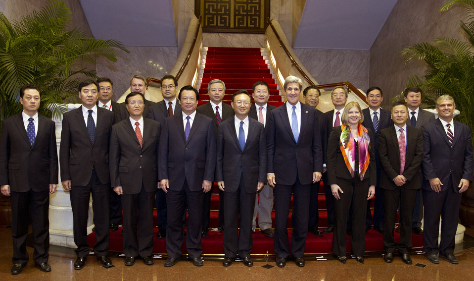 Secretary Kerry and Chinese State Councilor Yang Jiechi Pose for a Group Photo