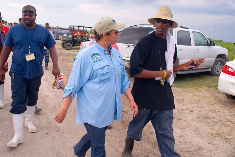 June 2, Getting first hand accounts from cleanup workers at Fourchon Beach, La