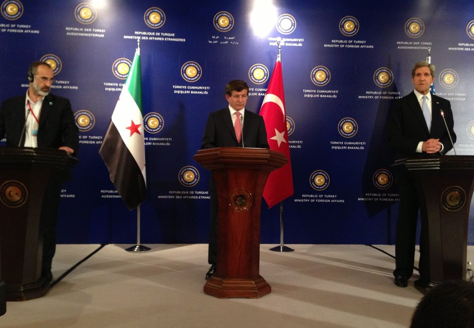 Secretary Kerry Delivers Remarks With Turkish Foreign Minister Davutoglu and Syrian Opposition Council Chairman al-Khatib