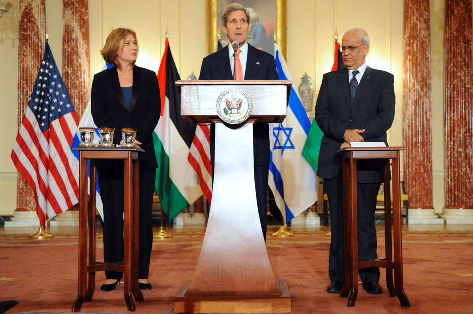 Secretary Kerry, Israeli Justice Minister Livni, and Palestinian Chief Negotiator Erekat Address Reporters