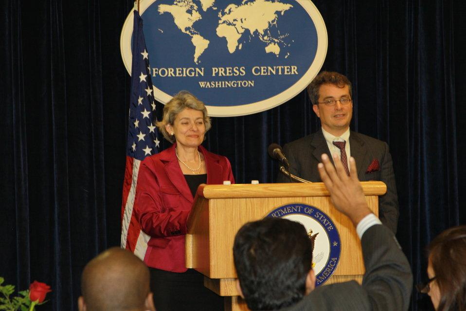 UNESCO Director General Bokova and Ambassador Killion Call on a Journalist