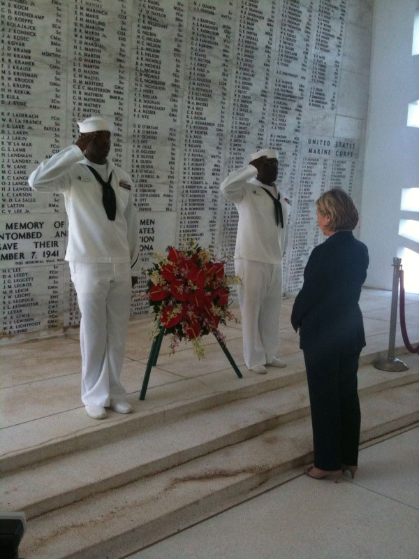 Secretary Clinton at Pearl Harbor