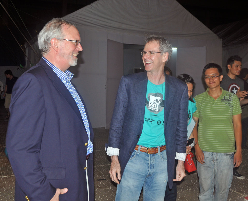 U.S. Ambassador to Vietnam, David Shear, left, and U.S. Ambassador to ASEAN, David Carden, backstage at the MTV EXIT concert in Hanoi