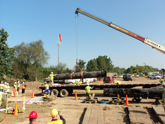 Loading pipe - Enbridge Oil Spill pipeline