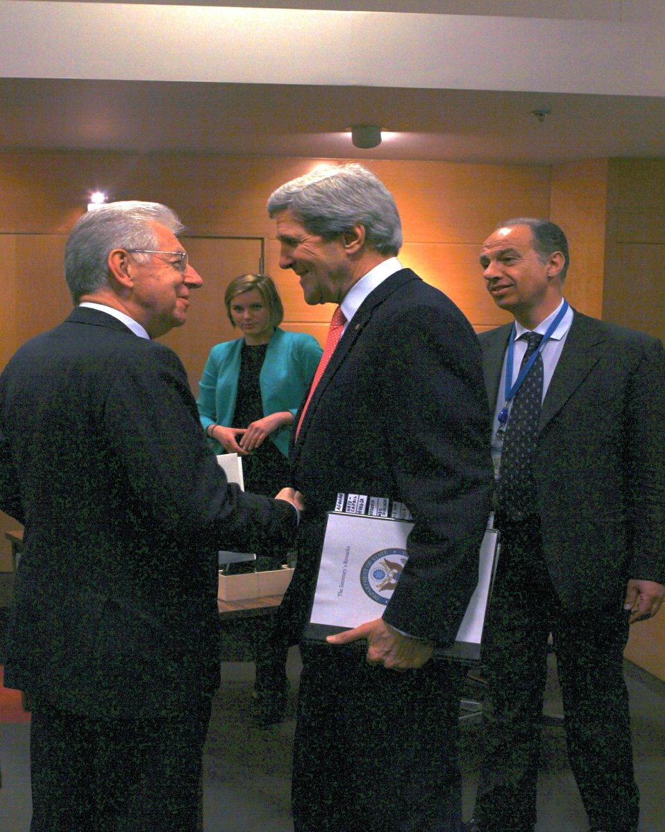 Secretary Kerry Shakes Hands With Italian Prime Minister Monti