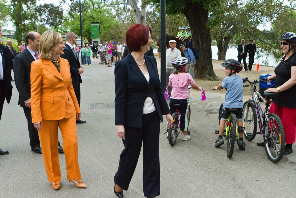 Australian Prime Minister Gillard and Secretary Clinton Greet People Along the Yarra River