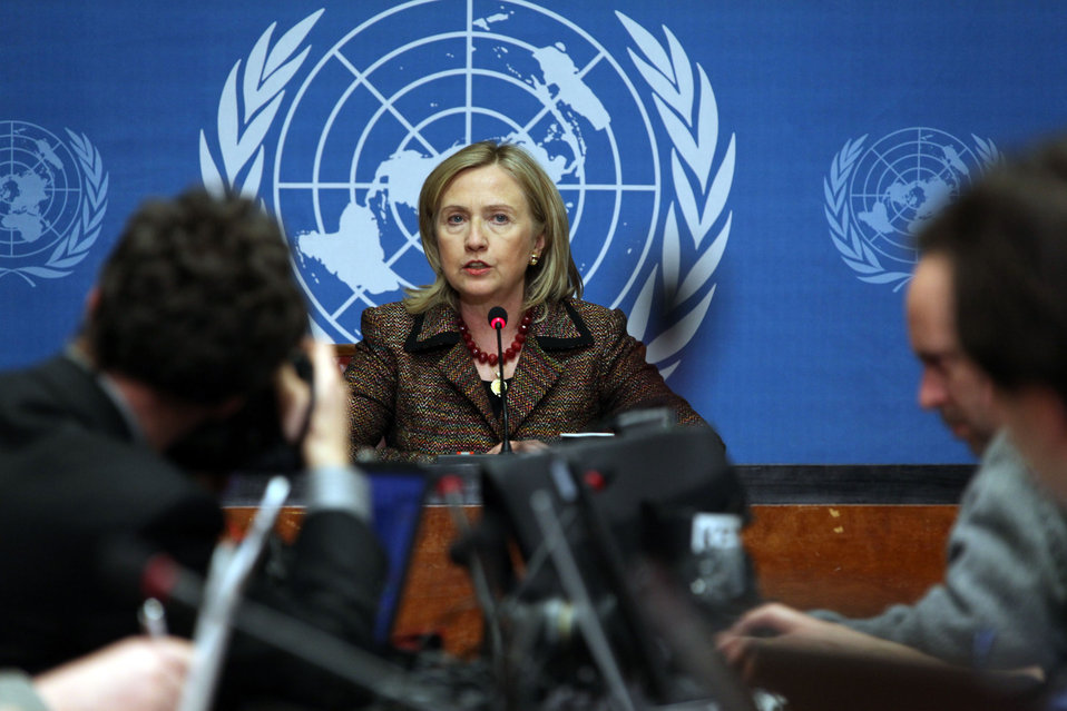 Secretary Clinton Speaks at a Press Conference